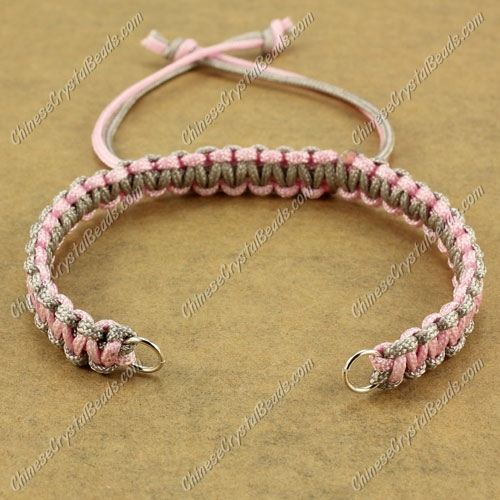 Pave chain, nylon cord, pink and gray, wide : 7mm, length:14cm