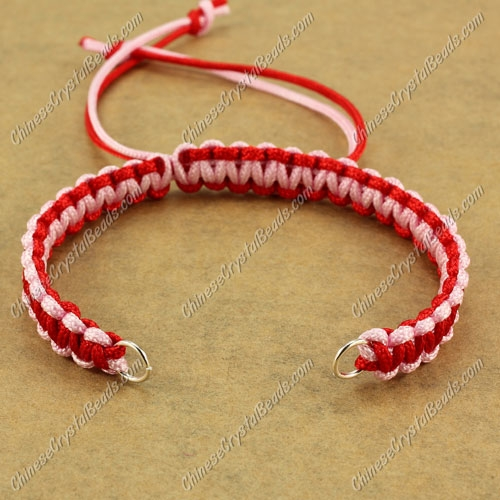 Pave chain, nylon cord, pink and red, wide : 7mm, length:14cm