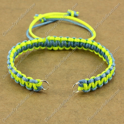 Pave chain, nylon cord, sky blue and neon yellow, wide : 7mm, length:14cm