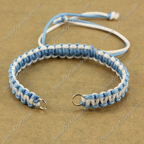 Pave chain, nylon cord, sky blue and white, wide : 7mm, length:14cm