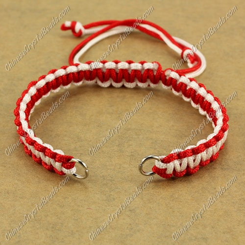 Pave chain, nylon cord, red and white, wide : 7mm, length:14cm