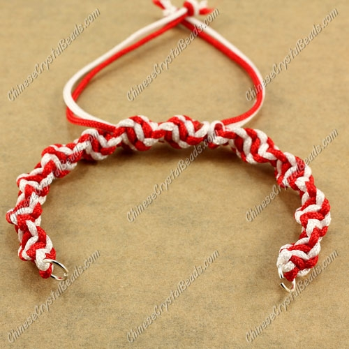 Pave Twist chain, nylon cord, white and red, wide : 7mm, length:14cm