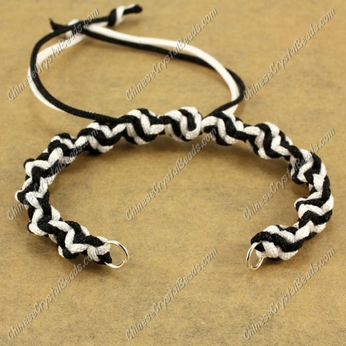Pave Twist chain, nylon cord, white and black, wide : 7mm, length:14cm