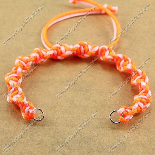 Pave Twist chain, nylon cord, neon orange and pink, wide : 7mm, length:14cm