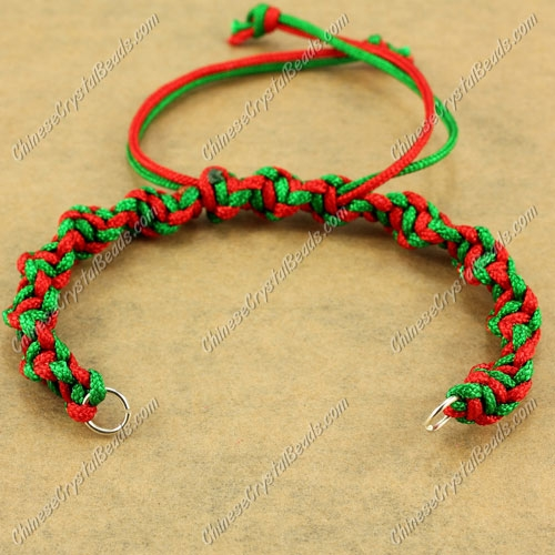 Pave Twist chain, nylon cord, emerald and red, wide : 7mm, length:14cm