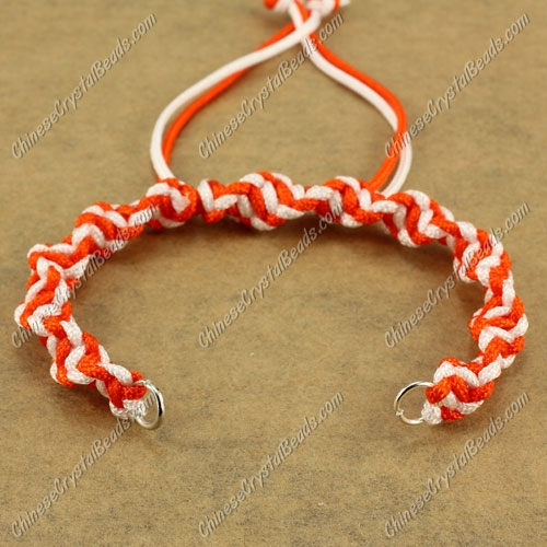 Pave Twist chain, nylon cord, white and orange, wide : 7mm, length:14cm