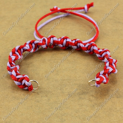 Pave Twist chain, nylon cord, red and lt-violet, wide : 7mm, length:14cm