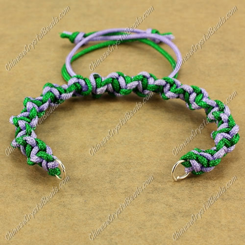 Pave Twist chain, nylon cord, emerald and lt-violet, wide : 7mm, length:14cm