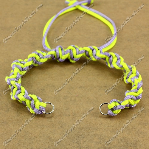 Pave Twist chain, nylon cord, neon yellow and lt-violet, wide : 7mm, length:14cm