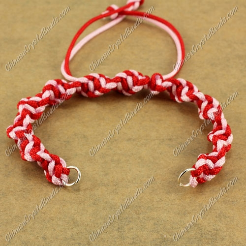 Pave Twist chain, nylon cord, red and pink, wide : 7mm, length:14cm