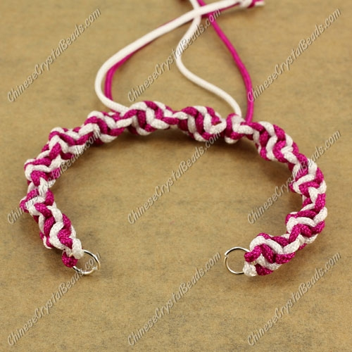 Pave Twist chain, nylon cord, white and ruby, wide : 7mm, length:14cm