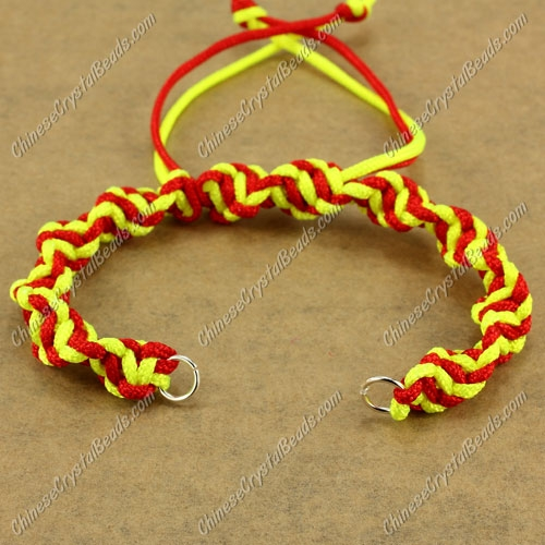 Pave Twist chain, nylon cord, yellow and red, wide : 7mm, length:14cm