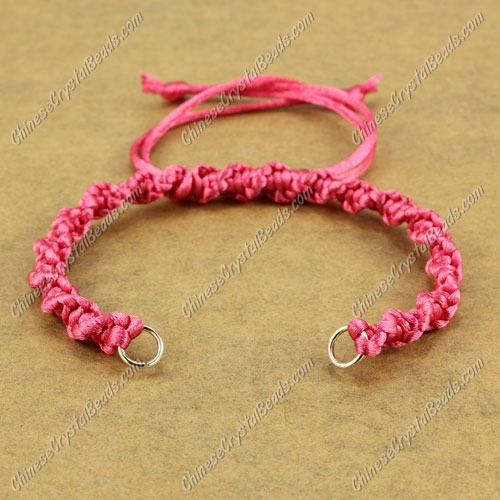 Pave Twist Satin Rattail chain, rose, wide : 7mm, length:14cm