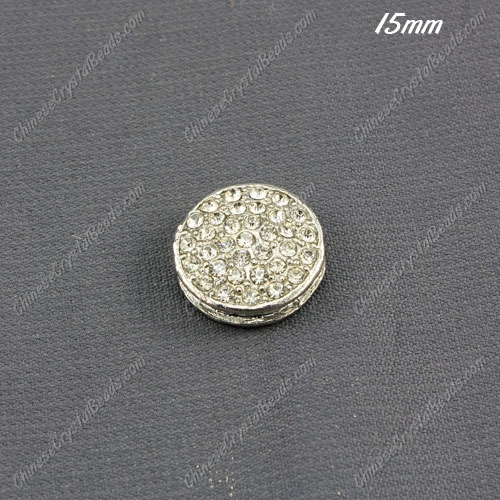 pave coin beads , silver plated, 15mm, hole:1.5mm,1 piece