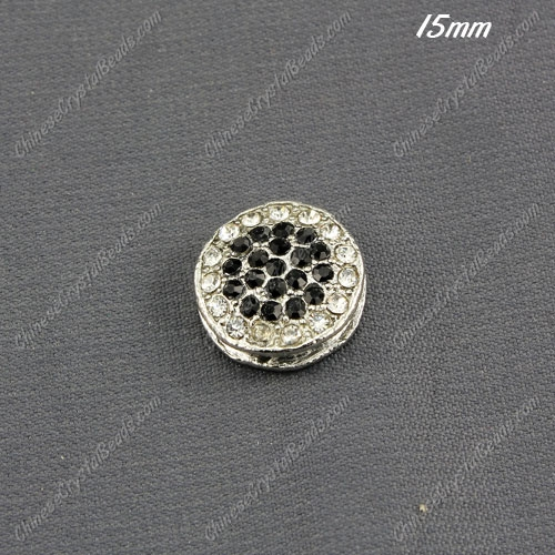pave coin beads , silver plated clear and black crystal, 15mm, hole:1.5mm,1 piece