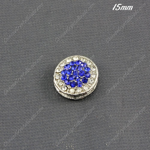 pave coin beads , silver plated, clear and sapphire crystal, 15mm, hole:1.5mm,1 piece