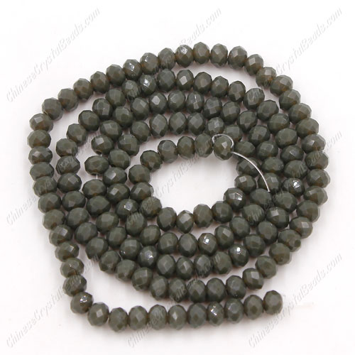 Chinese Crystal Long Rondelle Bead Strand, dark gray jade, 3x4mm , about 150 beads