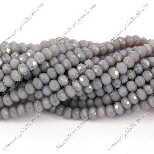 Chinese Crystal Long Rondelle Bead Strand, opaque gray, 3x4mm . about 150 beads