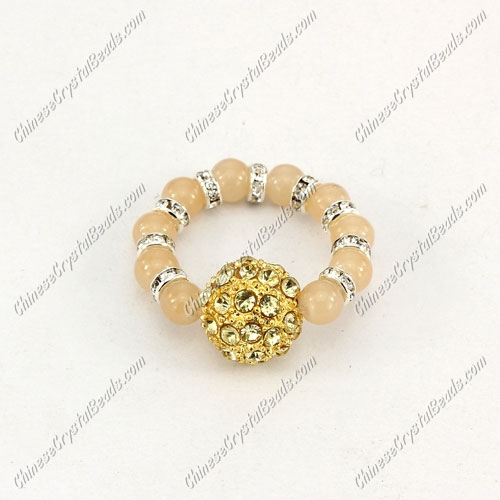 grass beads pave beads Ring,Stretchable fit. b001, 2.1""
