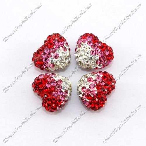 Pave heart beads, clay, 13x15mm, 1.5mm hole, red gradient, 1pcs