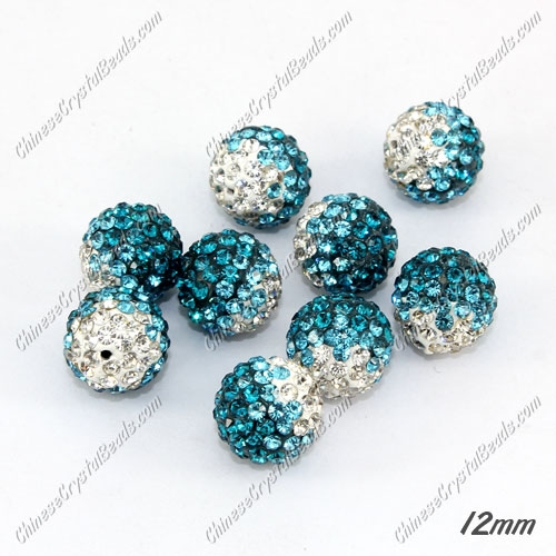 AAA quality Premium Pave style half drilled beads crystal, round, 12mm, hole: 1mm, white & aqua & capri blue, sold by 1 pc