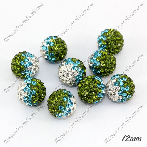 AAA quality Premium Pave style half drilled beads crystal, round, 12mm, hole: 1mm, white & aqua & Olive green, sold by 1 pc