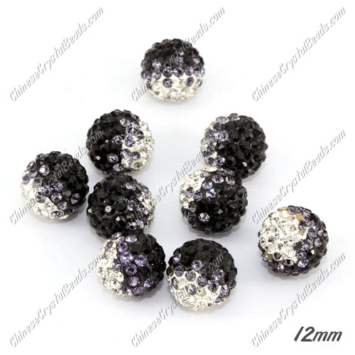 AAA quality Premium Pave style half drilled beads crystal, round, 12mm, hole: 1mm, white & gray & black, sold by 1 pc