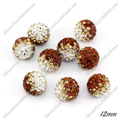 AAA quality Premium Pave style half drilled beads crystal, round, 12mm, hole: 1mm, white & champange & coffee, sold by 1 pc