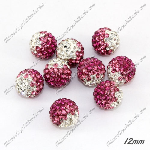 AAA quality Premium Pave style half drilled beads crystal, round, 12mm, hole: 1mm, white & pink & fuchsia, sold by 1 pc