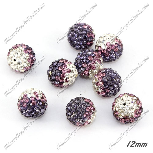 AAA quality Premium Pave style half drilled beads crystal, round, 12mm, hole: 1mm,white & purple, sold by 1 pc