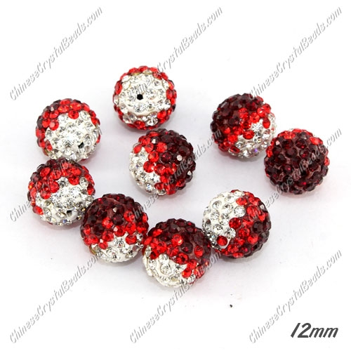 AAA quality Premium Pave style half drilled beads crystal, round, 12mm, hole: 1mm, white & red, sold by 1 pc