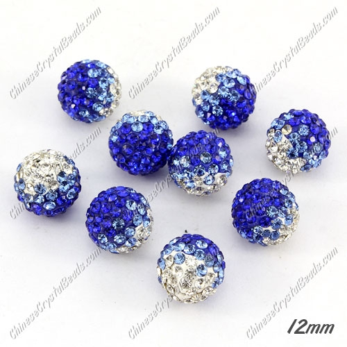 AAA quality Premium Pave style half drilled beads crystal, round, 12mm, hole: 1mm, white & sapphire, sold by 1 pc