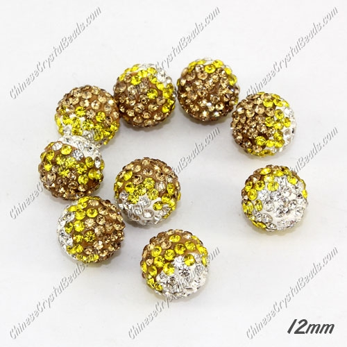 AAA quality Premium Pave style half drilled beads crystal, round, 12mm, hole: 1mm, white & yellow & champange, sold by 1 pc