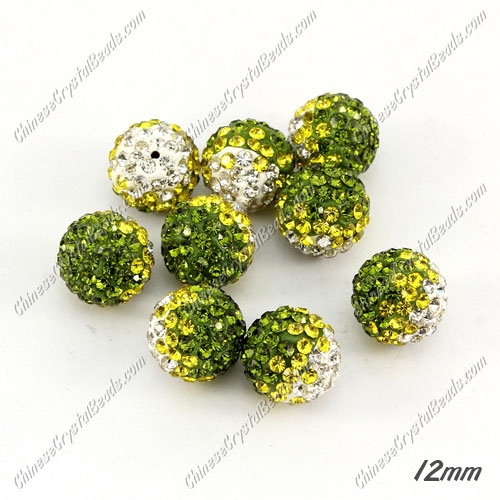 AAA quality Premium Pave style half drilled beads crystal, round, 12mm, hole: 1mm, white & yellow & olive, sold by 10 pc
