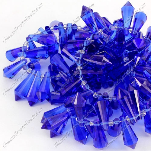 Chinese Crystal Icicle Drop Beads, 8x20mm, 1-hole, sapphire, sold per pkg of 10 pcs