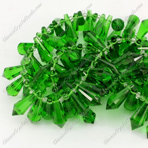 Chinese Crystal Icicle Drop Beads, 8x20mm, 1-hole, green sold per pkg of 10 pcs