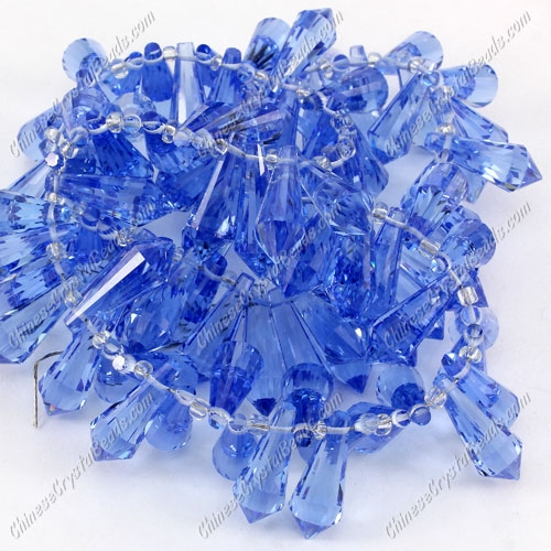 Chinese Crystal Icicle Drop Beads, 8x20mm, 1-hole, lt sapphire, sold per pkg of 10 pcs