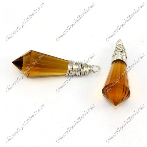 Wire Working Crystal Icicle Drop Pendant, 8x20mm, amber, sold by 1 pc