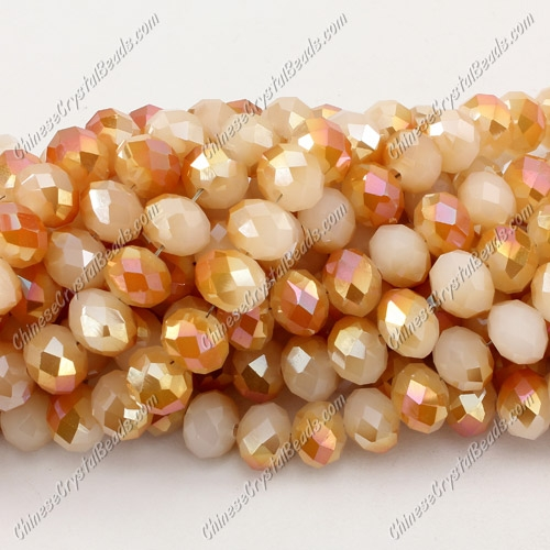 Chinese Crystal Rondelle Bead Strand, 8x10mm, opaque half yellow light, 25 beads