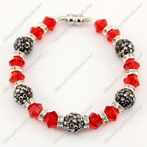 "Magnetic Clasps bracelet red bicone beads and silver clay pave beads, 7"" length"