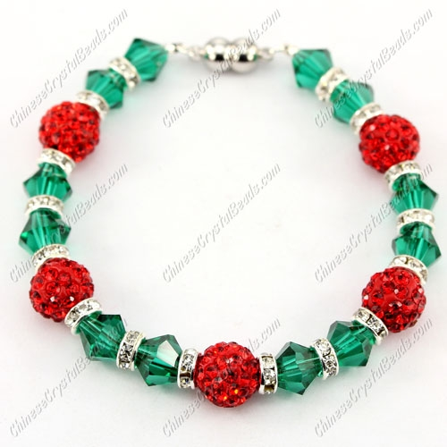 "Magnetic Clasps bracelet emerald bicone beads and red clay pave beads, 7"" length"