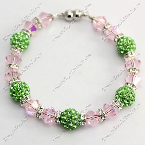 "Magnetic Clasps bracelet pink AB bicone beads and Green clay pave beads, 7"" length"