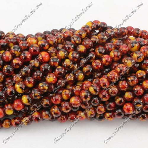 6mm round glass beads strand, Picture Jaspe, 140pcs per strand