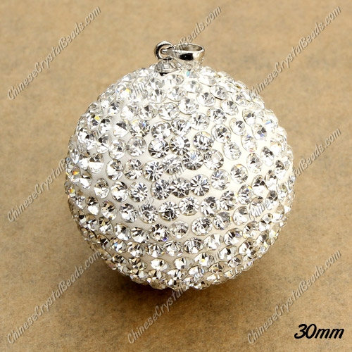 30mm crystal clay disco pave pendant, AAA quality, 1 pcs