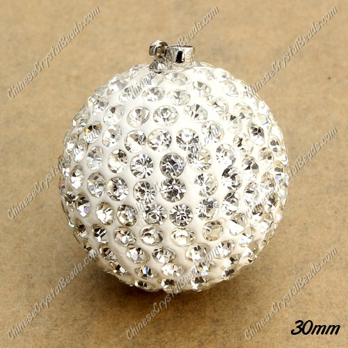 30mm crystal clay disco pave pendant, cheap, 1 pcs