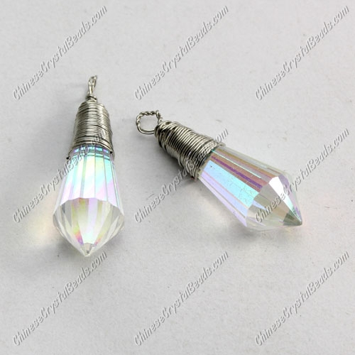 Wire Working Crystal Icicle Drop Pendant, 8x20mm, clear AB, sold by 1 pc