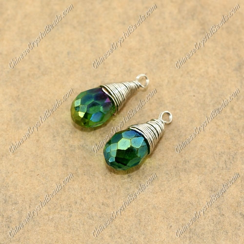 Wire Working Briolette Crystal Beads Pendant, 6x12mm, fren green AB, 1 pcs