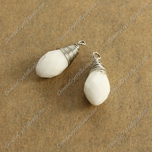 Wire Working Briolette Crystal Beads Pendant, 6x12mm, white jade, 1 pcs
