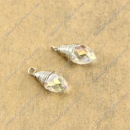 Wire Working Briolette Crystal Beads Pendant, 6x12mm, clear AB, 1 pcs