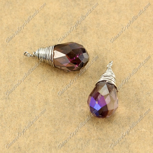 Wire Working Briolette Crystal Beads Pendant, 8x13mm, smoke AB, 1 pcs